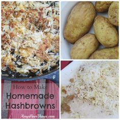 How to Make Homemade Hashbrowns Bake a bunch of potatoes.  After scrubbing the potatoes, poke them a few times with a fork put all my potatoes in a baking dish with a lid and bake them at 350° for 1 1/2 hours or so.   Chill for a few hours or overnight Shred with a grater.  To freeze: lay on sheet to freeze then put in ziploc.