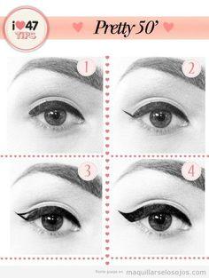 Tutorial pintar linea perfilador ojos estilo años 50
