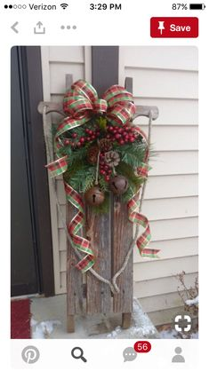 sled christmas decor front porch ideas for christmas christmas sleighs sled decor - Natural Outdoor Christmas Decorations
