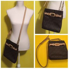 Michael Kors Signature Crossbody purse 100% authentic Michael Kors Signature Crossbody bag, brown monogram with tan strap, gently used, the exterior is in excellent like new condition with no signs of any wear, the interior is in good condition but there is a small red pen mark on the interior(no one sees that though), adjustable strap length, one exteirior pocket and 3 interior pockets. Very spacious and cute! Bundle to save ❤️ Michael Kors Bags Crossbody Bags