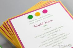 Real Card Studio: Tennis-themed Bat Mitzvah invitation in green, yel...