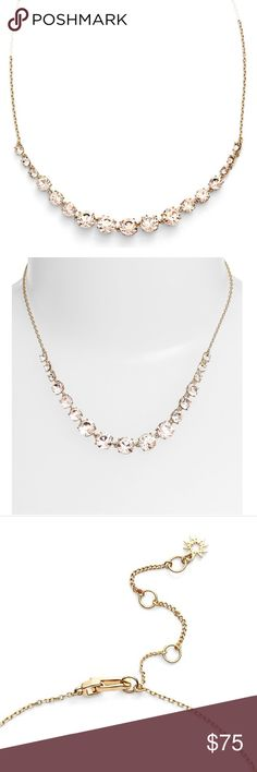 """Marchesa Crystal Frontal Necklace Sparkling crystals in a lovely shade of blushing pink put a romantic twist on a gleaming frontal necklace designed with a golden cable chain. 16"""" length; 3"""" extender; 3/8"""" width. Lobster clasp closure. Goldtone plate/glass. By Marchesa; imported. Marchesa Jewelry Necklaces"""