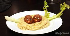 meatball birda in Pasta Nest! (candy eyes and carrot nose celery branch in this example)
