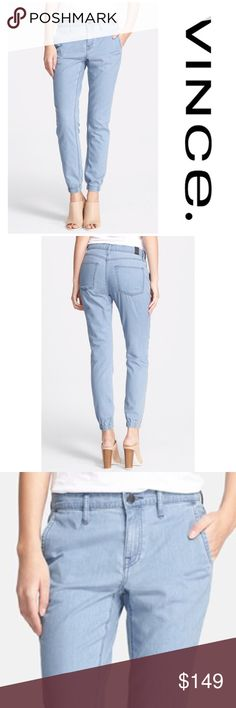 """NWT Vince Denim Jogger A casual light blue wash relaxes the look of chic, of-the-moment jogger pants tailored with slim legs that taper gently to the elasticized hems. 30""""inseam; 11"""" leg opening; 11"""" front rise; 16"""" back rise  Zip fly with button closure. Four-pocket style. 100% cotton. Vince Pants Track Pants & Joggers"""