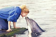 Kusje van een dolfijn in het Dolfinarium.
