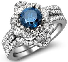 1.90ct Blue Round Diamond Engagement Ring 3 Piece Bridal Set 18k White Gold / Front Jewelers
