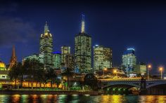 Download wallpapers Melbourne, skyscrapers, night, city lights, modern architecture, Australia