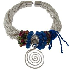 Emmanuela.gr - Χειροποίητα Κοσμήματα. Ασημένια δαχτυλίδια, σκουλαρίκια, βραχιόλια, μενταγιόν, κολιέ & καρφίτσες, γυναικεία, 2014 - Κολιέ :: Χειροποίητο Κολιέ με Στριφτό Κορδόνι και Ημιπολύτιμους Λίθους