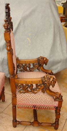 Antique Carved Dining Set 19th C. Grapes Dragons