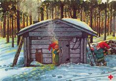 Marjaliisa Pitkäranta Fairy Land, Fairy Tales, Scandinavian Art, Gif Animé, Vintage Christmas Cards, Christmas Elf, Christmas Printables, Gnomes, Troll