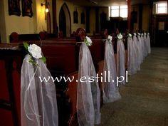 Szarfy do dekoracji ławek w kościele z różą w kolorze bialym. :: Estill_Sklep