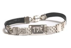 Unisex Israeli Handmade Leather Kabbalah Bracelet with Silver Plate Engraved with א.ל.ד - Black or Red - Customizable & Made per Order