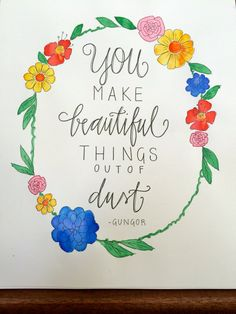 Gungor Christian song quote You Make Beautiful Things hand lettering by aliveletter, $20.00