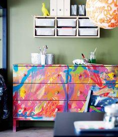Graffiti Furniture - IKEA pine dresser. Definite future project.