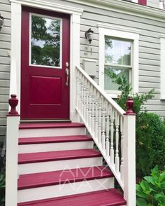 COLOR TIP: Make the favorite entrance stand out by giving it its own colors! Sharing my own color work where the bold colors on this home draw attention to the entrance the homeowner uses the most. #color #amywax #exterior
