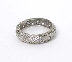filagree band ring | Intricate Vintage Platinum Diamonds Filigree Band Ring | eBay