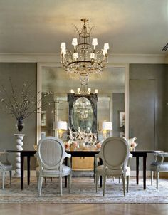 Beautiful Silver White Dining Room Elegant Exceptional Design Gray Walls Mirrors  Walls Chandelier Black Accents