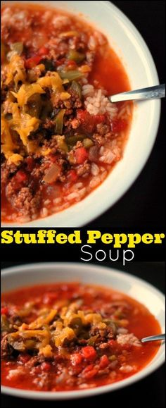 This Stuffed Pepper Soup is one of our favorites!  All the classic stuffed peppers flavors in a big ol' comforting pot of soup!