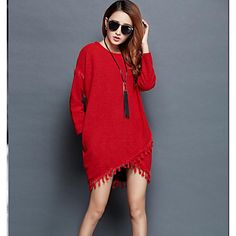 Women's+Going+out+/+Holiday+Simple+/+Sophisticated+A++DressSolid+Round+Neck+Mini+Long+–+USD+$+14.24