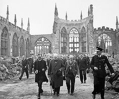 Prime Minister Winston Churchill inspecting the ruins of the Coventry Cathedral, England, 28 Sep 1941 (Source: Imperial War Museum)
