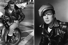 L) James Dean, 1950s. (R) Marlon Brando, 1954.