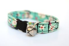 Cat Collar with Bell - Cherry Blossoms Pink and Sky Blue - Breakaway Adjustable Cat Collar
