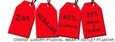 ¡Empezamos con las SEGUNDAS #REBAJAS!   DESCUENTOS del 40% en LUXURY y 30% en WEAR Y OUTLET.    Sólo tenéis que introducir el código promocional  en el momento de la compra: LUXURY: PTJ2014L y WEAR/OUTLET: PTJ2014R.    Entra en: www.patriciajackets.com y…¡ APROVÉCHATE!