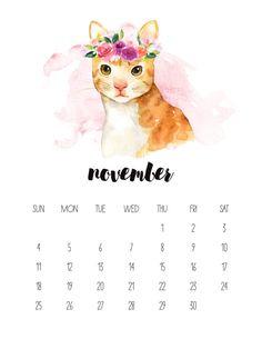 November 2018 Watercolor Animal Calendar