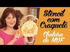 Chaleira de MDF com Stencil e Craquelê - YouTube Декор досочки с использованием трафаретов и крекелюровой лаковой пары