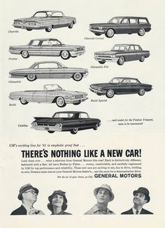 Vintage Automobile Advertising In The Navy-Air Force Football Game Official Program Dated October 1960 - The 1961 General Motors Automobiles 1960s Cars, Retro Cars, Vintage Cars, General Motors Cars, Pontiac Tempest, Navy Air Force, Car Brochure, Truck Design, Car Advertising