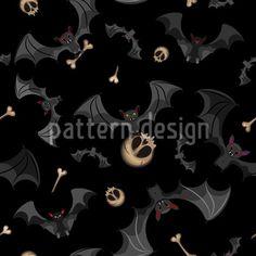 Flying Bats With Bones - Seamless spooky Halloween pattern design with scattered flying bats, bones and skulls. Halloween Vector, Halloween Patterns, Spooky Halloween, Vector Pattern, Pattern Design, Halloween Stoff, Starter Set, Surface Design, Bones