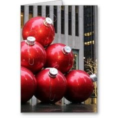 Huge Christmas Ball Ornaments in NYC Greeting Card #zazzle