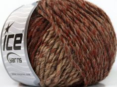New York wool, rust, brown, tan, 92 yards per skein, wool blend yarn, Worsted Weight Yarn, Ice Yarns New York Wool, #40024 - pinned by pin4etsy.com