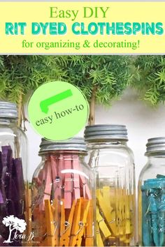 Learn how to easily make RIT Dyed Clothespins in this visual DIY. Plus ideas to use your colorful clothespins to organize and decorate. Popsicle Stick Crafts, Craft Stick Crafts, Diy Craft Projects, Fun Crafts, Diy And Crafts, Craft Ideas, Creative Crafts, Diy Ideas, Dye Clothespins