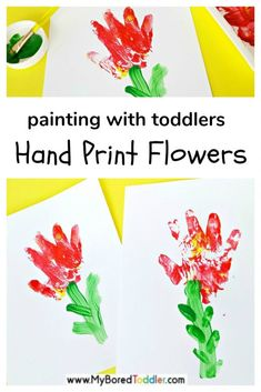 Hand print flower paintings for toddlers Painting hand print flowers toddler fine motor activity – a great painting idea for toddlers – perfect as a gift for Mother's day too Toddler Fine Motor Activities, Spring Activities, Craft Activities, Preschool Ideas, Flower Activities For Kids, Preschool Names, Childcare Activities, Creative Activities, Preschool Learning