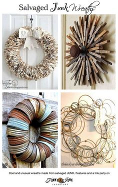 Wreaths made out of salvaged junk. Hooray for upcycling! Wreath Crafts, Diy Wreath, Door Wreaths, Burlap Wreath, Diy Crafts, Wreath Ideas, Wreath Making, Tulle Crafts, Book Crafts
