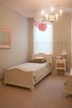 Grey and pink White furniture big girl bed
