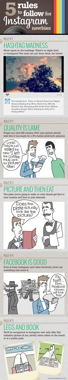 Comic - 5 Rules to Follow for Instagram Newbies - infographic