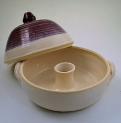 Vegetable or Rice Steamer Purple and White by donnakellerpottery