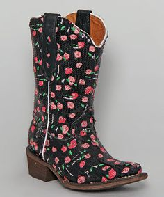 Tanner Mark Boots Black & Pink Sequin Tapered-Toe Cowboy Boot - Kids by Tanner Mark Boots #zulily #zulilyfinds