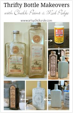Bottle Makeovers (Decoupage and Chalk Paint) Thrifty Bottle Makeovers {Decoupage & Chalk Paint} - Steps to Create - Thrifty Bottle Makeovers {Decoupage & Chalk Paint} - Steps to Create - Diy Bottle, Wine Bottle Crafts, Jar Crafts, Bottle Art, Decor Crafts, Altered Bottles, Liquor Bottles, Bottles And Jars, Glass Bottles