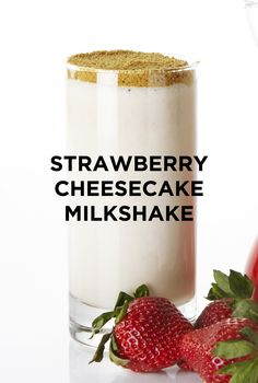 Forget your fork and grab for your straw because you're going to want to suck up this creamy, decadent Strawberry Cheesecake Milkshake. #BiteMeMore #Milkshake #cheesecake
