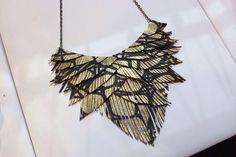 Gold and Black Metallic Leather Fringe Necklace by HaKNiK on Etsy, $45.00