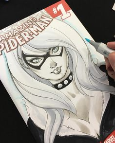 Black Cat cover sketch in progress at yesterday's Paris Comics Expo by J Scott Campbell. #pariscomicsexpo #blackcat #spiderman #sketch #sketchcover #drawing #comicbook #comicbookart #jscottcampbell