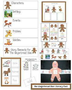"""FREE--16 pages. This packet contains activities that will help your kiddo's understand the elements of a story, such as characters, setting, plot etc.  The """"beginning-middle-end"""" graphic organizer, 9 story cards + the gingerbread story slider, assist children with sequencing & retelling a story.  I've also included 40 traceable word cards, a graph + bookmarks to trigger the tale-telling."""
