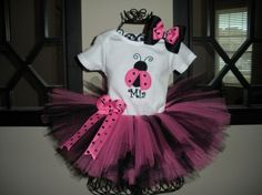 Pink and Black LadyBug Personalized Tutu Set Pink Ladybug Birthday, Ladybug Tutu, Baby Girl 1st Birthday, Ladybug Party, Black Ladybug, Everything Pink, Party Hats, Little Girls, To My Daughter