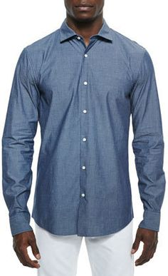 $65, Blue Chambray Long Sleeve Shirt: Michael Kors Michl Kors Slim Fit Pindot Chambray Sport Shirt. Sold by Neiman Marcus. Click for more info: https://lookastic.com/men/shop_items/307677/redirect