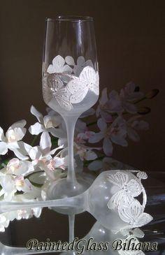 Wedding Glasses White orchids Swarovski by PaintedGlassBiliana