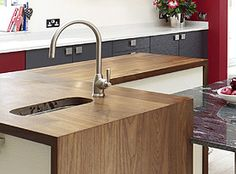 We specialise in manufacturing bespoke solid hardwood worktops. Made from wide planks or single staves of Iroko, Maple, Oak, Walnut, Ash & Cherry. Walnut Worktops, Wide Plank, Work Tops, Hardwood, Island, Home Decor, Natural Wood, Decoration Home, Room Decor