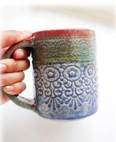 Special Color, Unique Mug, A  Beautiful Green & Blue with Red Rim, Sweet Lace Imprint Handmade Ceramic Mug